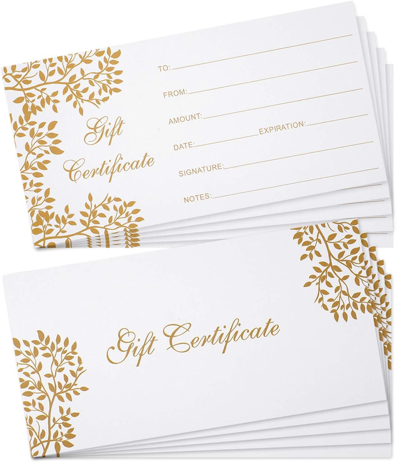 50 Tarjetas de Certificado de Regalo en Blanco Vales de Certificado de Regalo, 3,5 x 7 Pulgadas Tarjetas de Cupón para Negocio Salón de Belleza Restaurante Boda Navidad Cumpleaños