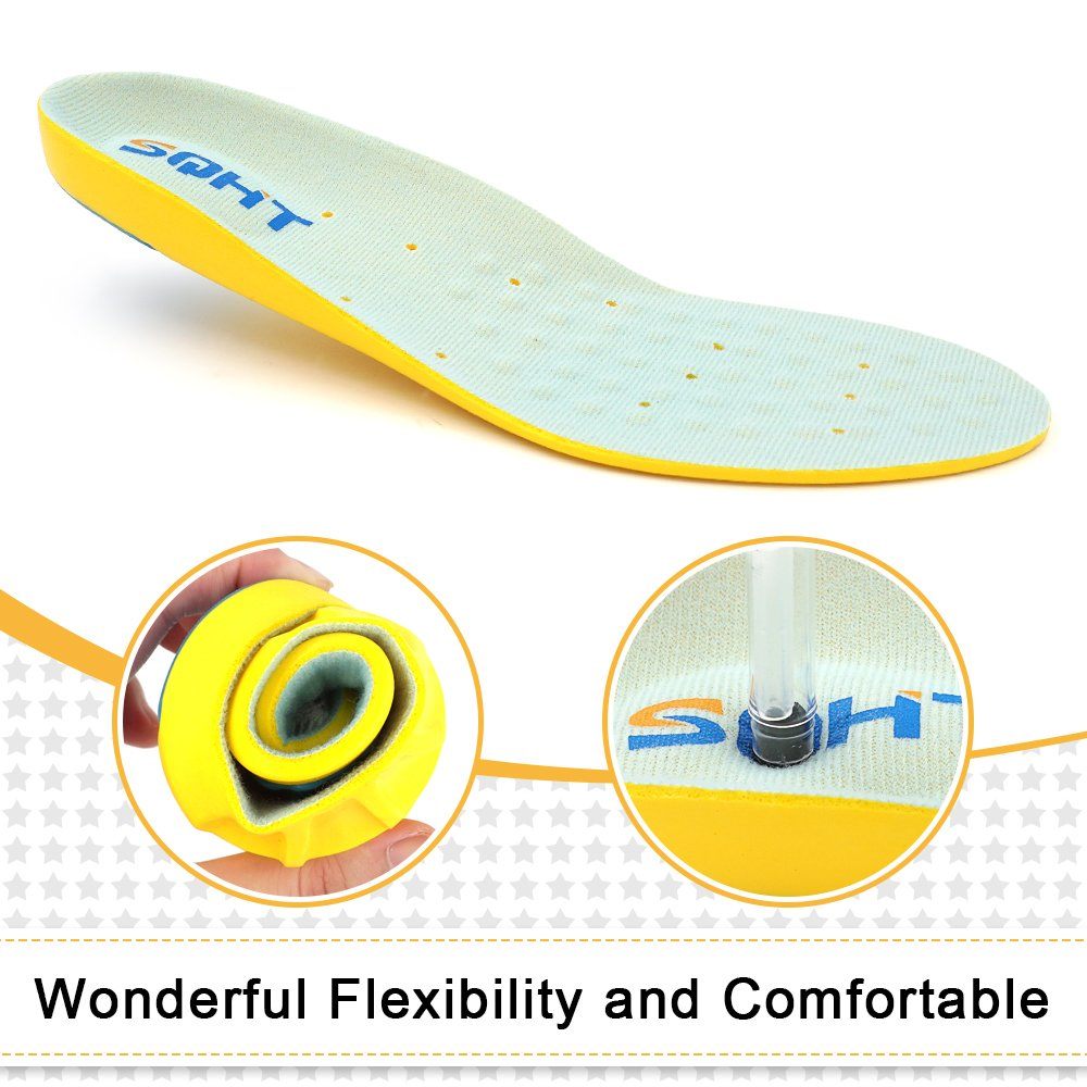 Shoe Insoles, Athletic SeriesRunning Insoles Full Length Comfort Foam Orthotic Replacement Insets with Adaptive Arch and Gel Inserts (L | 7.5~11 Men\'s)