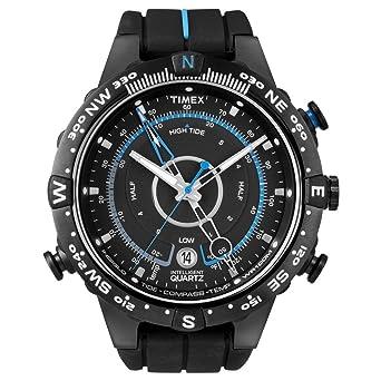 2dcfaecd44dc Image Unavailable. Image not available for. Colour  Timex Men s T49859 Intelligent  Quartz Compass Tide Temperature Silver Case Black ...