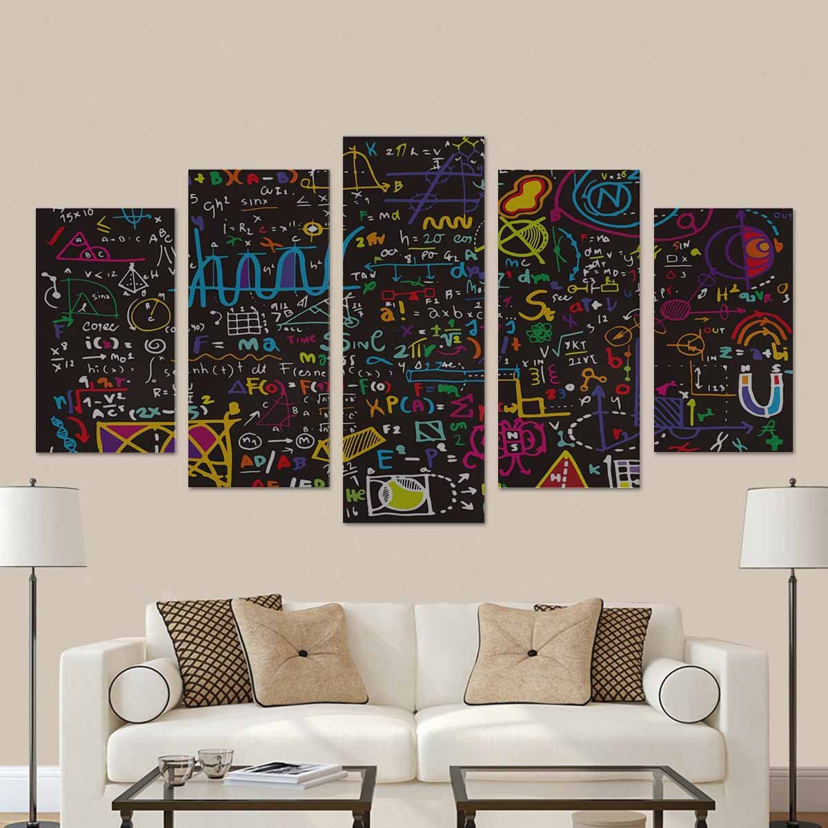 InterestPrint Physical Formulas and Phenomenon Science Board with Math. Physics Education at School Wall Art Canvas Painting 5 Pieces Prints Wall Decor Art (No Frame)