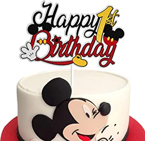 Happy 1st Birthday Black Glitter Mickey Mouse Cake Topper 1 One Year Old Party Decorations Supplies for Baby Boys Girls