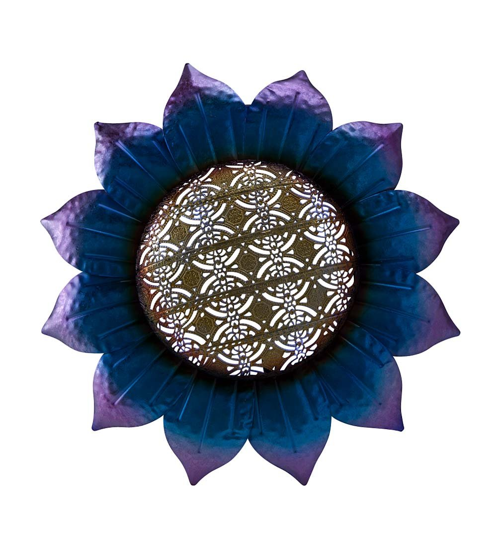 Indoor Outdoor Battery-Operated LED Lighted Lace 3D Metal Wall Art 16.25 diam x 2.25 H Flower