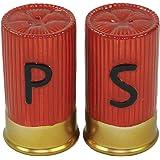 "Shotgun Shell Salt & Pepper Shaker Set - Large 3.25"" H X 1.75"" W Painted Ceramic"