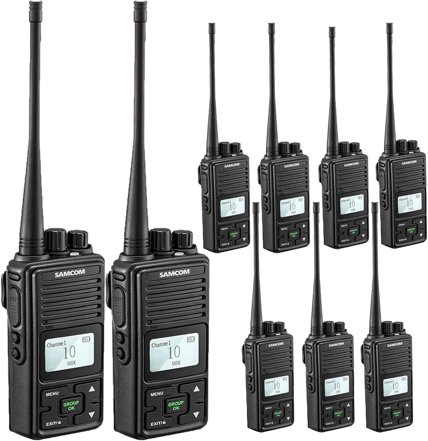 SAMCOM Two Way Radio 2 Watts Programmable UHF Handheld Walkie Talkie Long Range 20CH Double PTT LCD Display Earpieces, 9 Packs