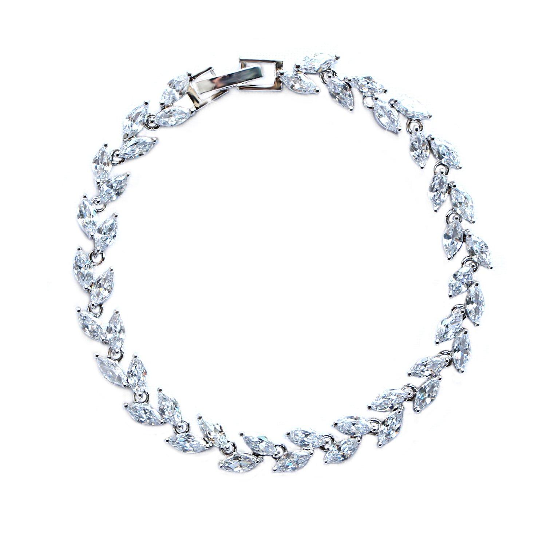 ZeusGem Silver Plated Crystal Tennis Bracelet Bridal Wedding Jewelry CZ tennis Bracelets for Women Girls
