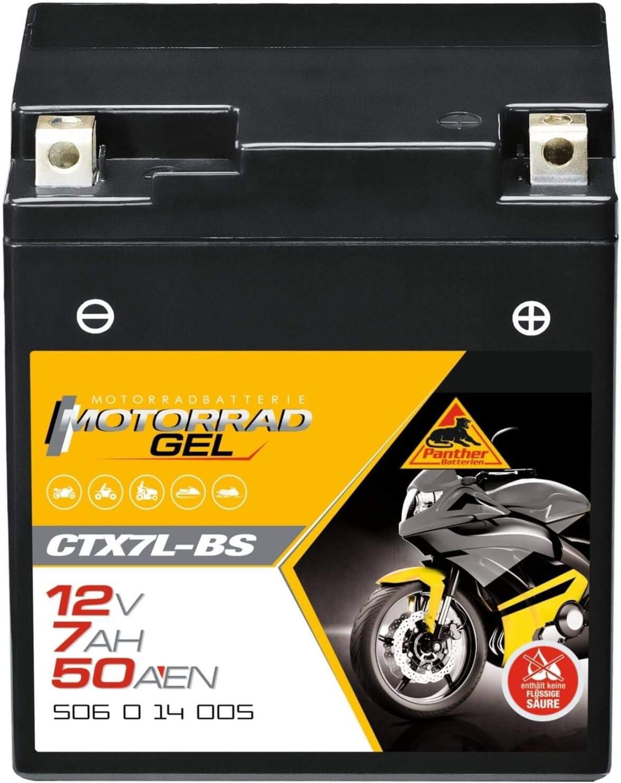 Panther Gel Batterie 12v 6ah 50a Ytx7l Bs Motorradbatterie Din 50614 Ctx7l Bs Auto