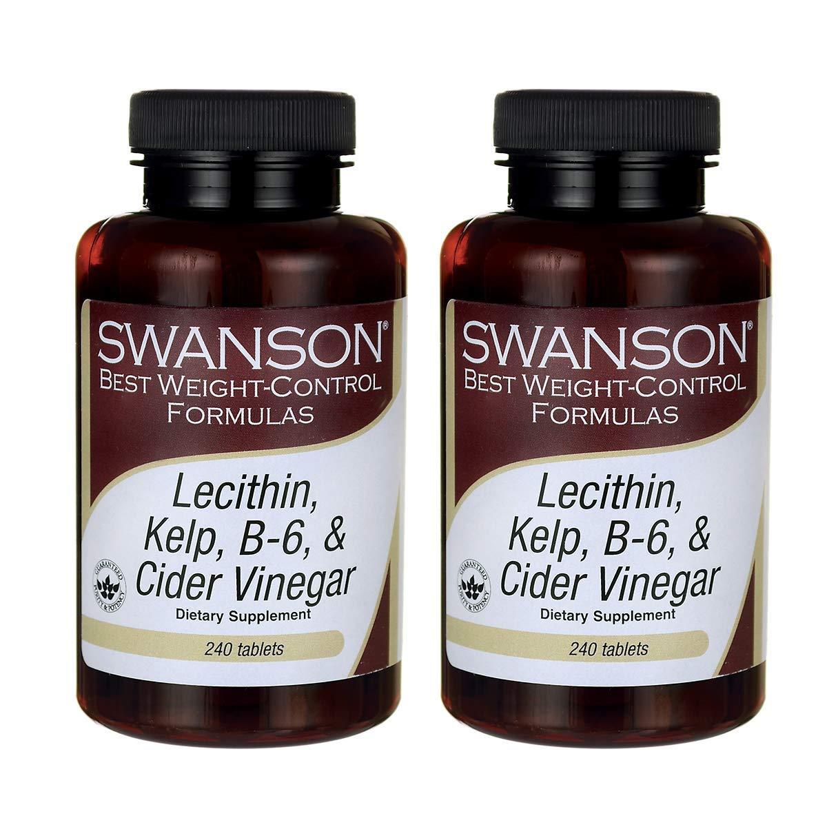 Swanson Lecithin Kelp B-6 & Cider Vinegar 240 Tabs (2 Pack) by Swanson