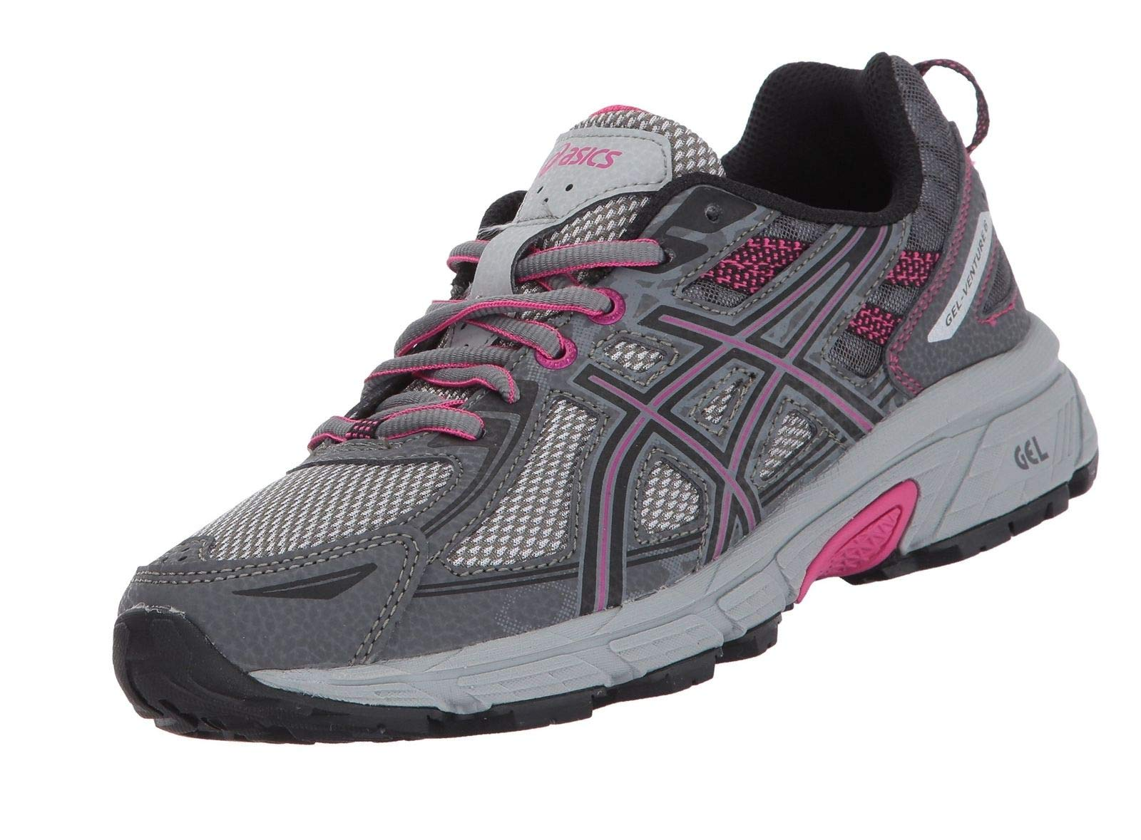 ASICS Women's Gel-Venture 6 Running-Shoes, Carbon/Black/Pink Peacock, 10 by ASICS