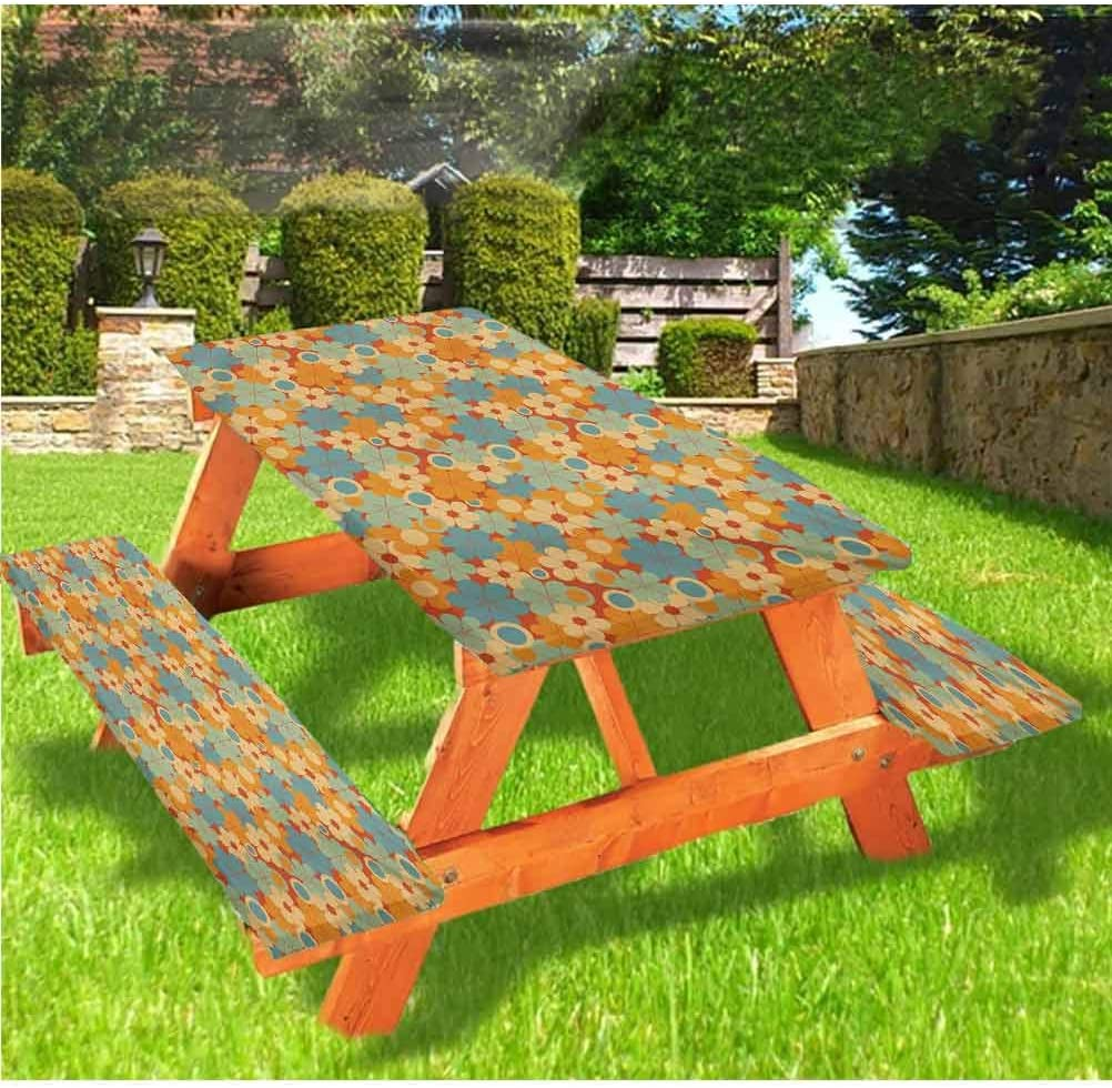 Earth Tones Picnic Table and Bench Fitted Tablecloth Cover,Retro Style Blooming Garden Composition with Autumn Theme Funky Circles 72