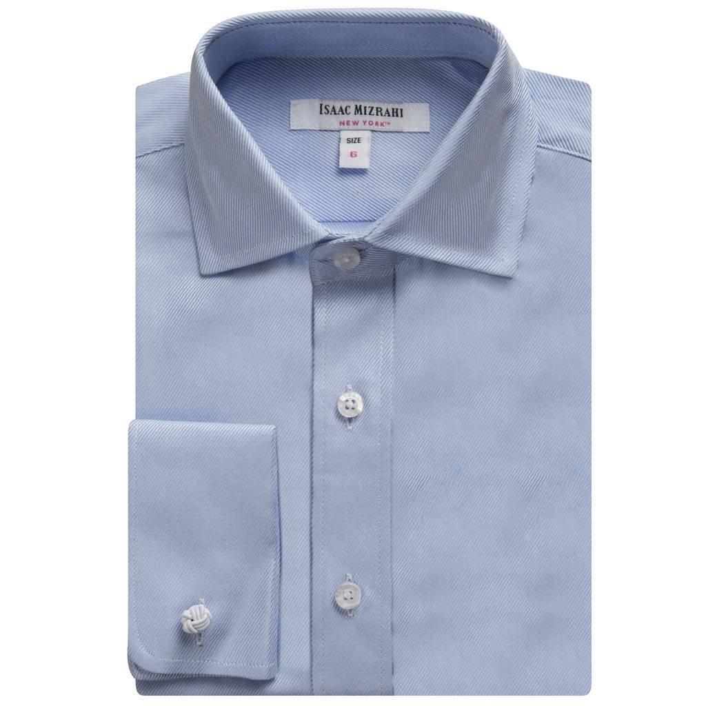 Isaac Mizrahi Boys 2-20 100% Cotton French Cuff Twill Dress Shirt (Cufflink Included) SH9247