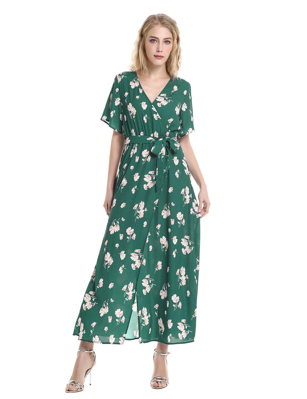ZAN.STYLE Floral Dresses for Women V Neck Short Sleeve Sexy Front Split Surplice Dress