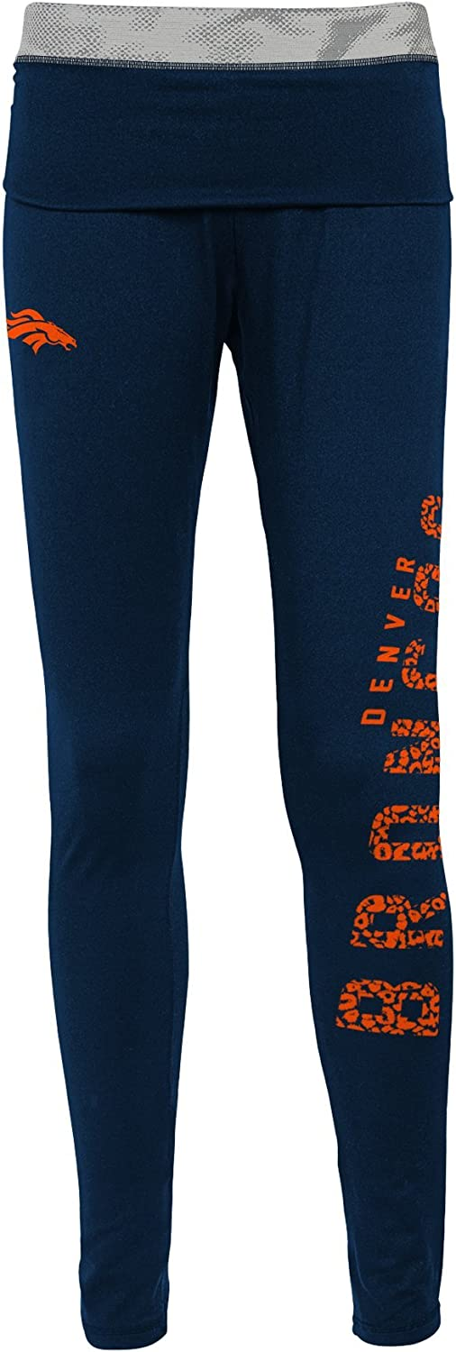 Dark Navy Denver Broncos 11-13 L NFL Junior Girls Elastic Heart Legging