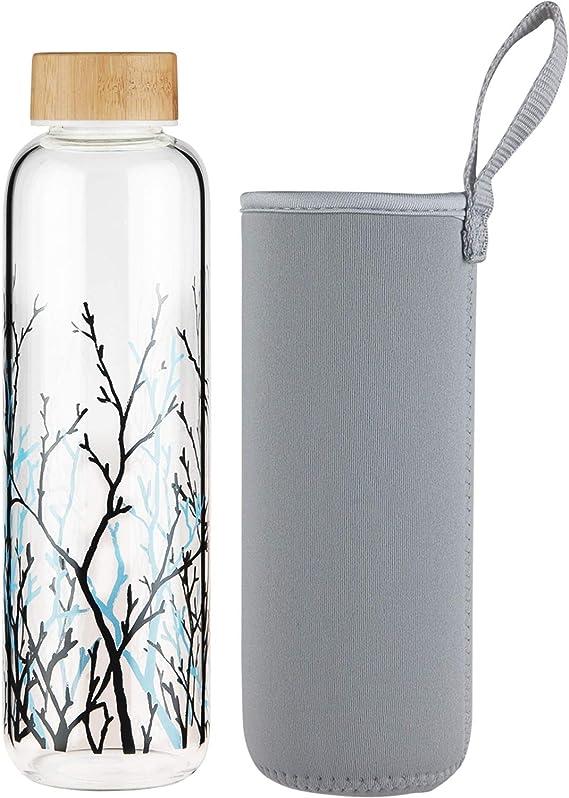 Bouteille d/'eau étanche en verre borosilicaté eau ballon avec Silicone Housse Pour /&
