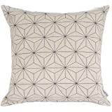 Elviros Linen Cotton Blend Decorative Scandinavian Modern Geometric Design Zippered Throw Pillow Cover 18x18''