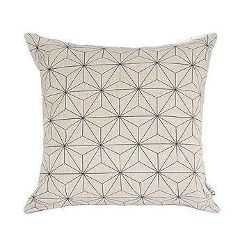 Elviros Linen Cotton Blend Decorative Scandinavian Modern Geometric Design  Zippered Throw Pillow Cover 18x18''