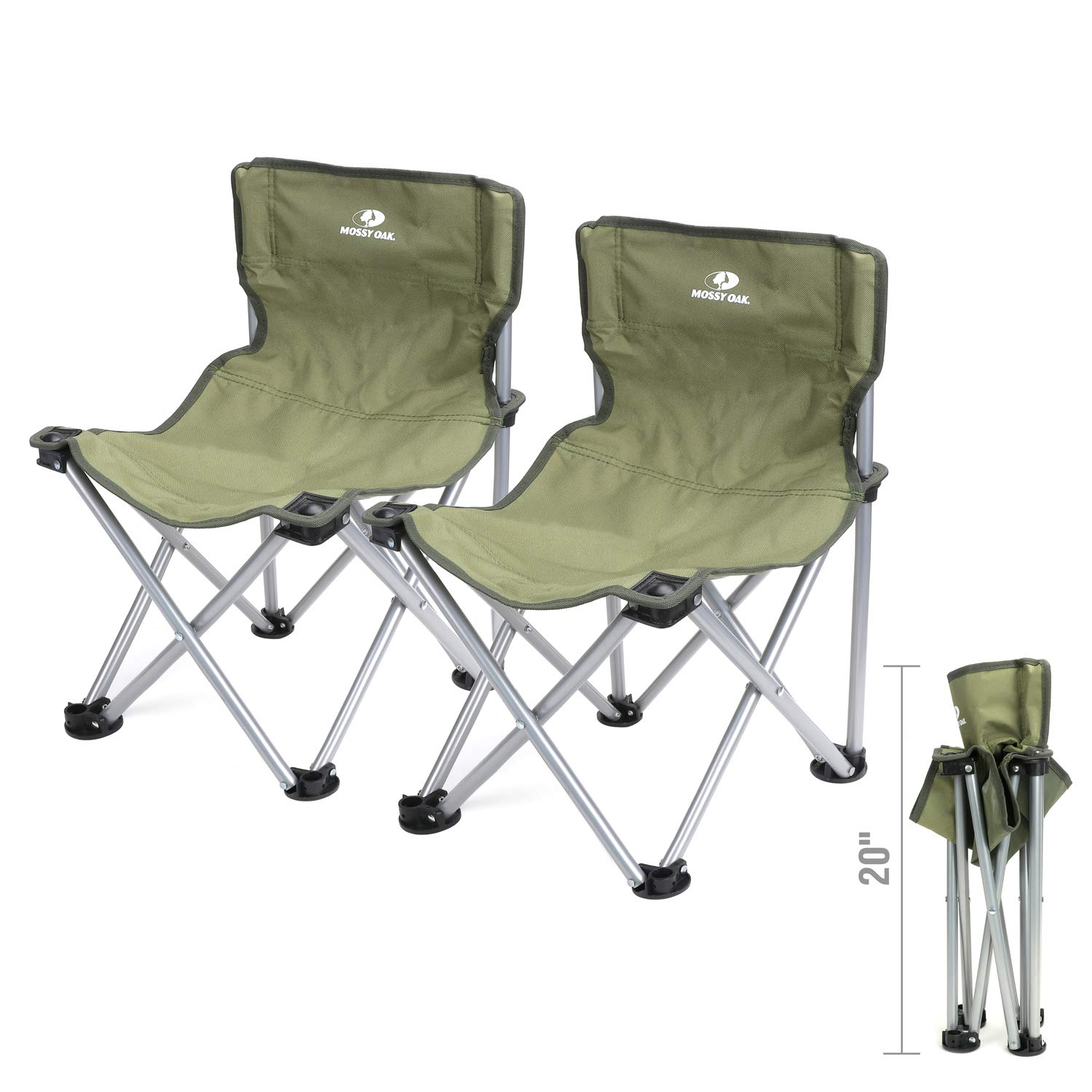 MOSSY OAK Folding Stool Mini with Backrest Portable Lightweight Camping Chair with Carry Bag, 2-Piece, Max Load 220 Lbs, 20.5 x 14 x 13 inch by Mossy Oak