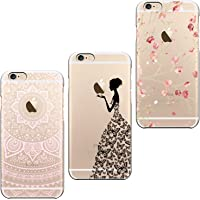 ivencase 3X Coques 3 en 1 Coque iPhone 6, Etui iPhone 6S TPU Silicone Souple Coque Clair Transparent Cover Ultra Mince Gel Soft Case Housse Protection Anti Rayures + Fleur Pink + Filles Papillon