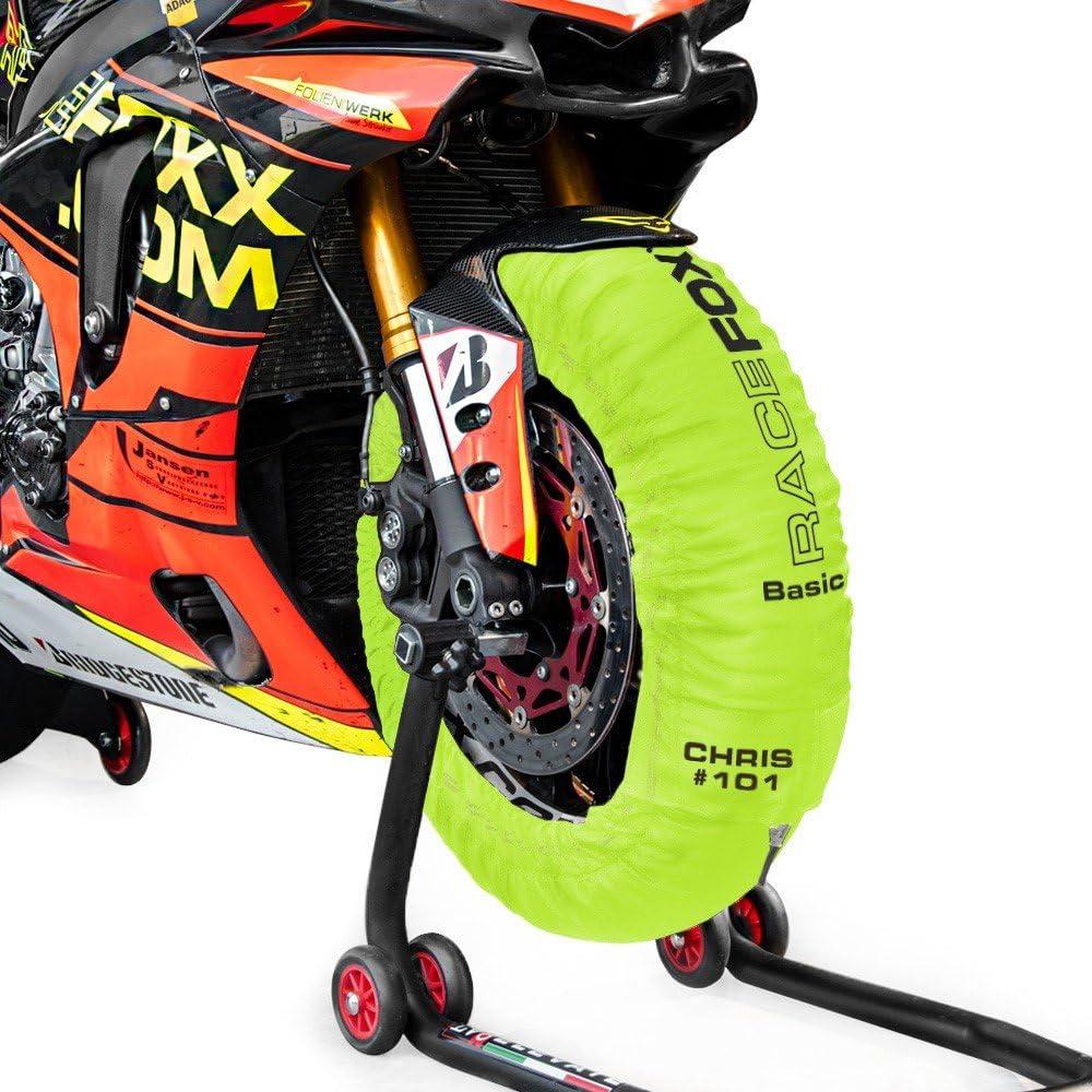 Calentador de neum/áticos temperatura de calentamiento Superbike, 120//17 delante y 180 hasta 200//17 detr/ás, amarillo ne/ón RACEFOXX PRO 80//100/° C