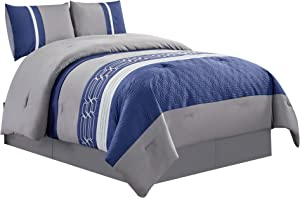 WPM WORLD PRODUCTS MART Embroidered Quilted Down Alternative Comforter Set Twin or Queen Size Bedding Includes Blue/Grey/White Comforter and Pillow Shams- LOLA (Queen)