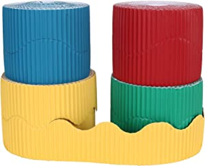 ZOEYES 4 Rolls Bulletin Board Borders, Scalloped Board Decoration for Black Board, Classroom and School Decoration - Red, Yellow, Green, Blue (2 Inch x 65.5 Yard)