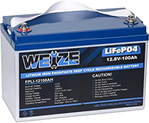 Weize LiFePO4 Battery Lithium Iron Phosphate 100ah 12v, Built-in BMS Up to 7000 Deep Cycle Rechargeable Battery Perfect for RV/Camper, Marine, Overland/Van, and Off Grid Applications System