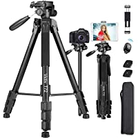 Victiv Camera & Tablet Tripod 72 inches, 2-in-1 Tripod Monopod 12 lbs Load for DSLR, Smartphone and iPAD with 2 Quick…