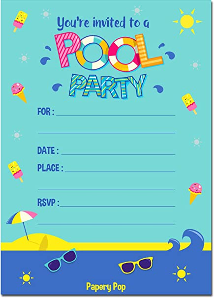 Amazon.com: Pool Party Invitaciones con sobres (15 Count ...