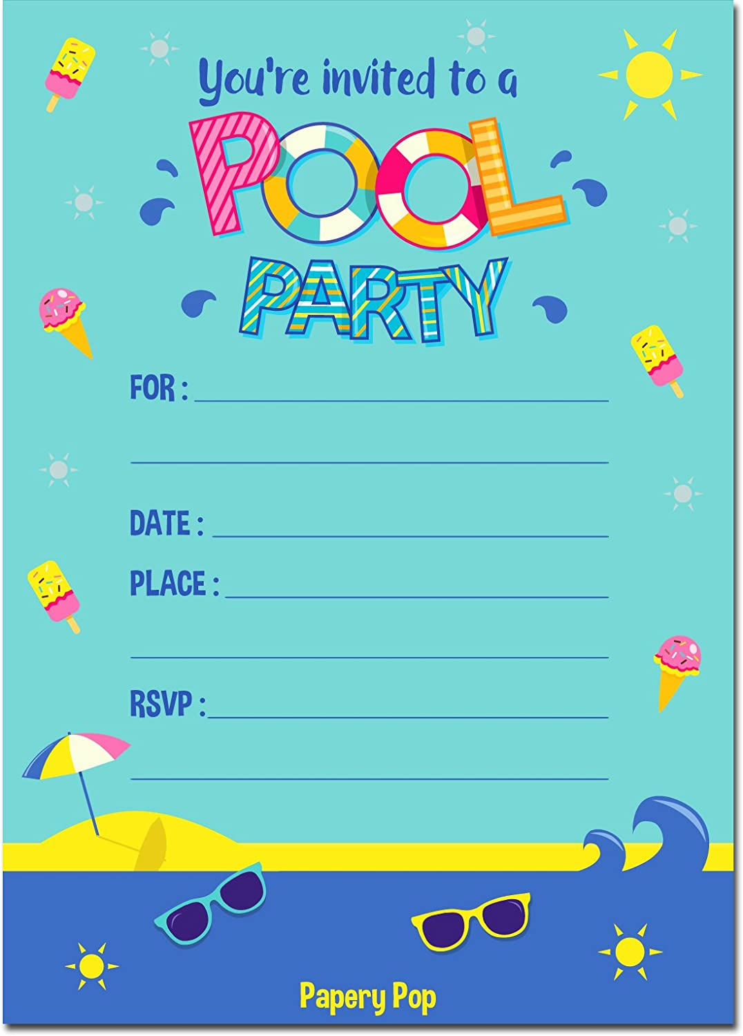 pool party invitations with envelopes 15 count kids. Black Bedroom Furniture Sets. Home Design Ideas