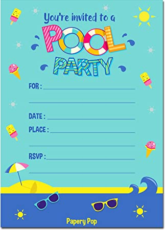 Amazon.Com: Pool Party Invitations With Envelopes (15 Count