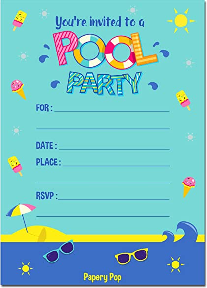 Amazon Pool Party Invitations with Envelopes 15 Count – Pool Party Invitations for Girls