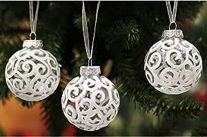 Sleetly Christmas Ball Ornaments White Snowball 2.36 inch Set of 18