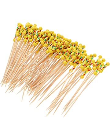 Pinchos de Acero Inoxidable para Barbacoa o Alimentos con Varillas Amarillas Lunji