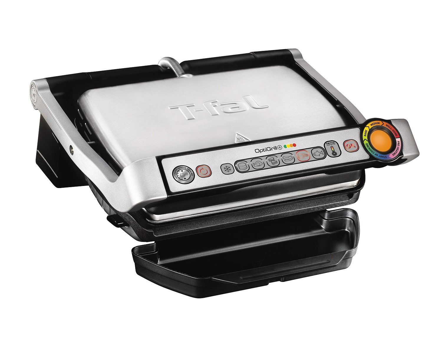 T-fal GC722D53 1800W OptiGrill XL Stainless Steel Large Indoor Electric Grill with Removable and Dishwasher Safe Plates, Silver 7211002168