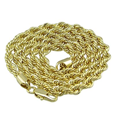 ad4f7f65c0c 5mm Rope Chain 14k Yellow Gold Plated Twisted Braided Mens Hip Hop 24