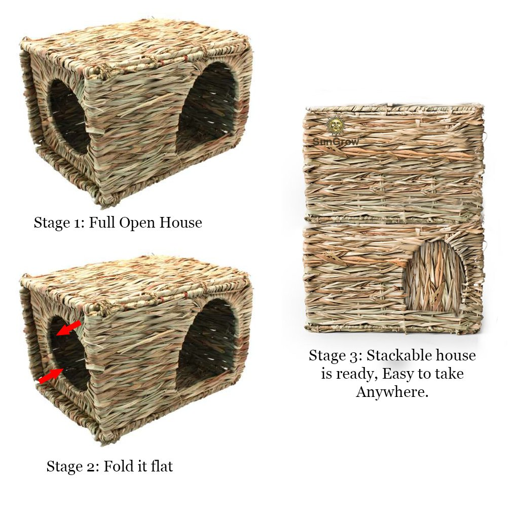 SunGrow Folding Woven Grass House for Rabbits, Guinea Pigs, Bunnies : Provides Comfort, Warmth & Security by Satisfying Natural Instincts: Multi-Utility, Edible, Non-Toxic, Chew Toy for Small Animals by SunGrow (Image #3)