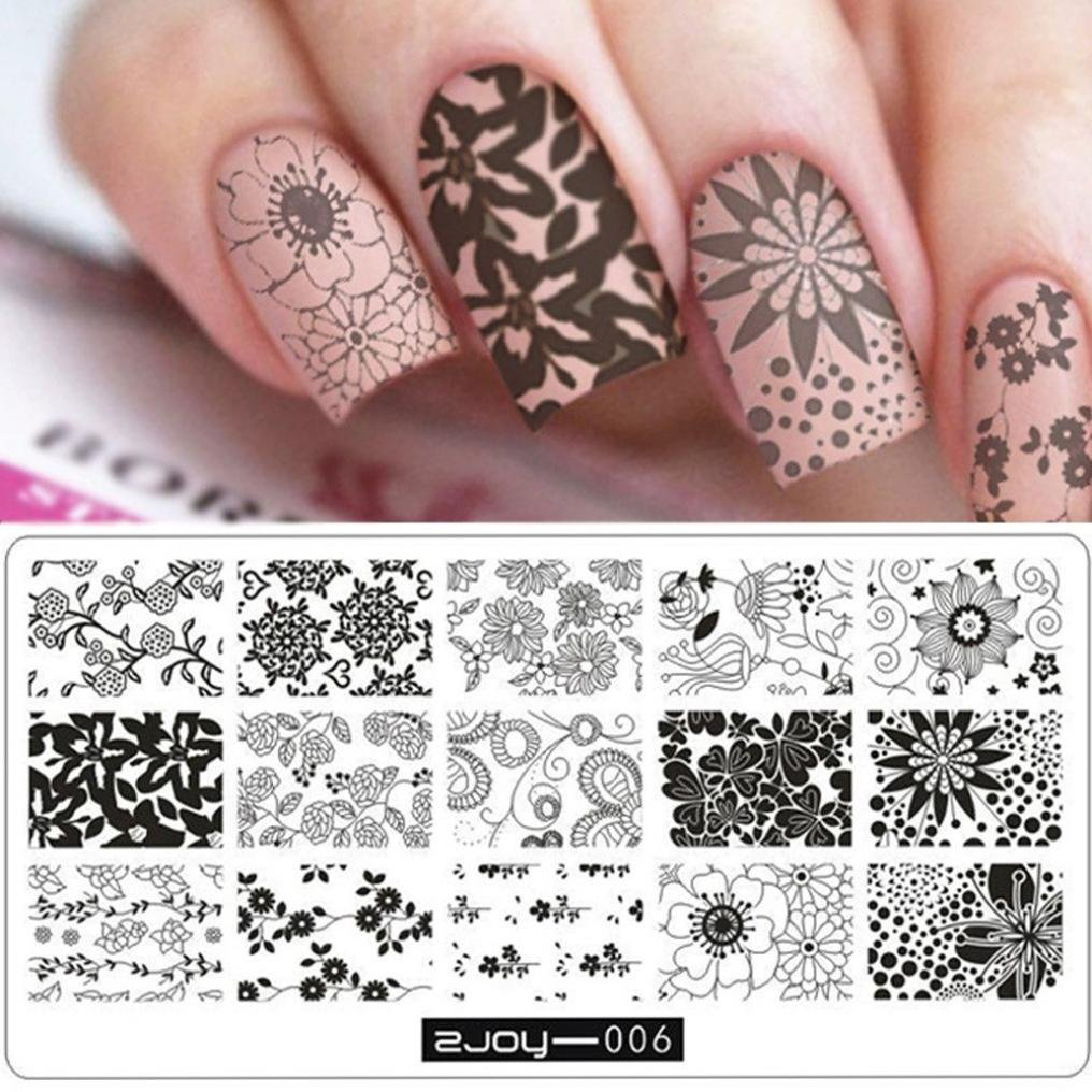 Aribelly Women Nail Art Manicure Rectangle Nail Art Stamping Template Plates DIY (F)