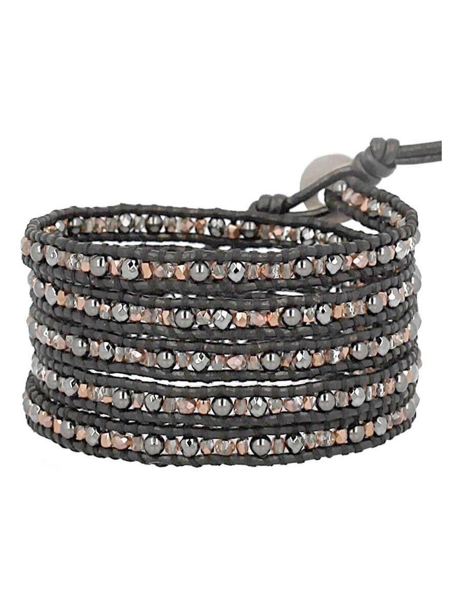 Chan Luu Black Copper Mix Wrap Bracelet on Black Leather