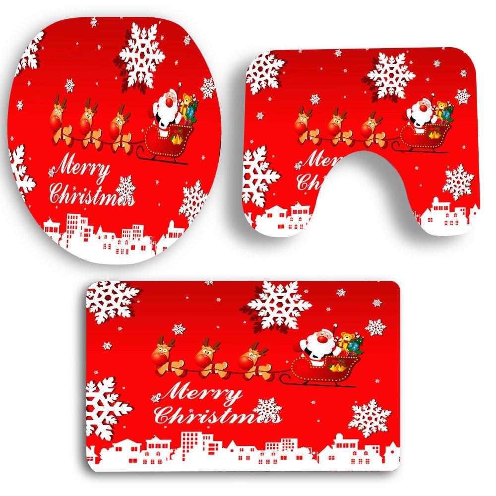 Christmas Toilet Covers Set, Brydon 3Pcs Christmas HalStyle Bathroom Non-Slip Print Toilet Seat Cover Sticker Removable Home Decoration Pedestal Rug + Lid Toilet Cover + Bath Mat (Multicolor 3) (A)