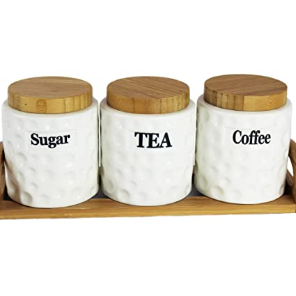 ba97e55e30b39 Beautiful Ceramic Tea Coffee Sugar Jars Canisters Ceramic Jars With Bamboo  Lids   Tray (Bocal Tea Coffee Sugar Jars)  Amazon.co.uk  Kitchen   Home