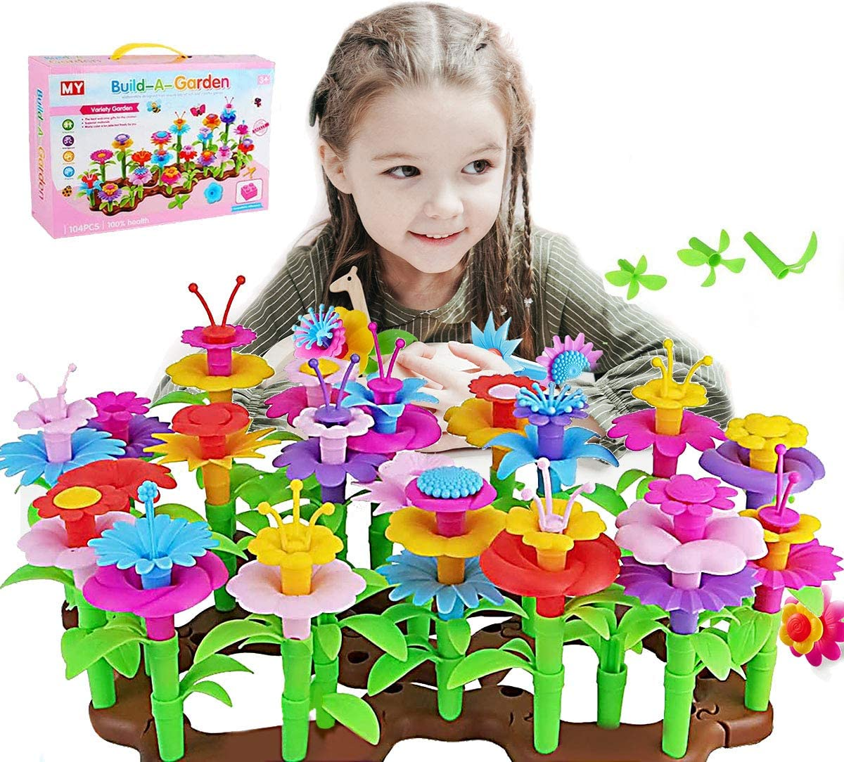 Flower Garden Building Toys, STEM Build a Bouquet Floral Arrangement Playset for Toddlers Kids Age 3, 4, 5, 6 Year Old, 104 PCS Garden Building Block Toys, Educational Creative Play Garden Stem Toys