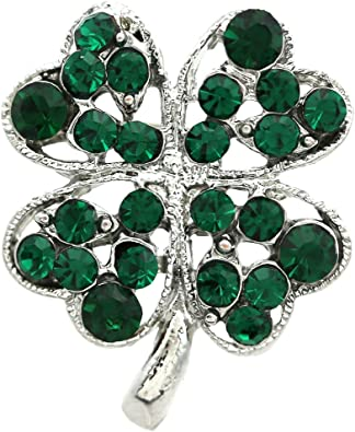 Cathedral Art Shamrock Lapel Pin with Emerald Stone Carded
