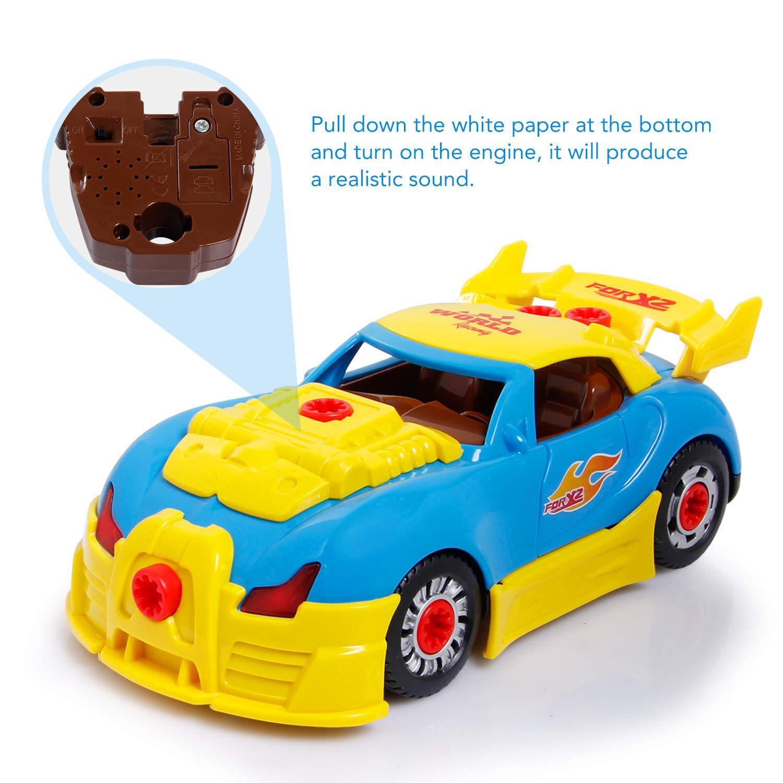 SGILE RC Auto Giocattolo e Set per Automobilina Leggera con 31 Gioco educativo con Kit e Telecomando Musica per i pi/ù Piccoli Bambini e Ragazzi 4 in 1