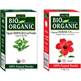 Indus Valley Bhringraj Leaf Powder With Hibiscus Flower Powder- 100% Natural, Pure and Organic For Hair and Skin Care (Bhringraj Powder 100grams and Hibiscus Powder 100grams)