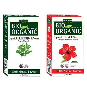 Buy Indus Valley Bhringraj Leaf Powder With Hibiscus Flower Powder