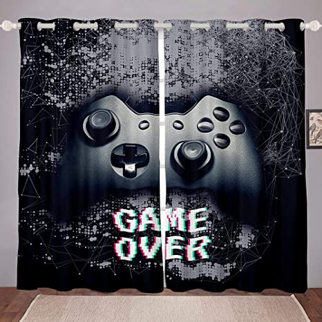 Amazon Com Kids Gamer Window Curtain Boys Games Curtain For Bedroom Living Room Child Teens Video Game Gamepad Room Decor Darkening Curtain Novelty Nostalgic Gaming Not Blackout Curtains Drapes 42 X 84 Inch Home