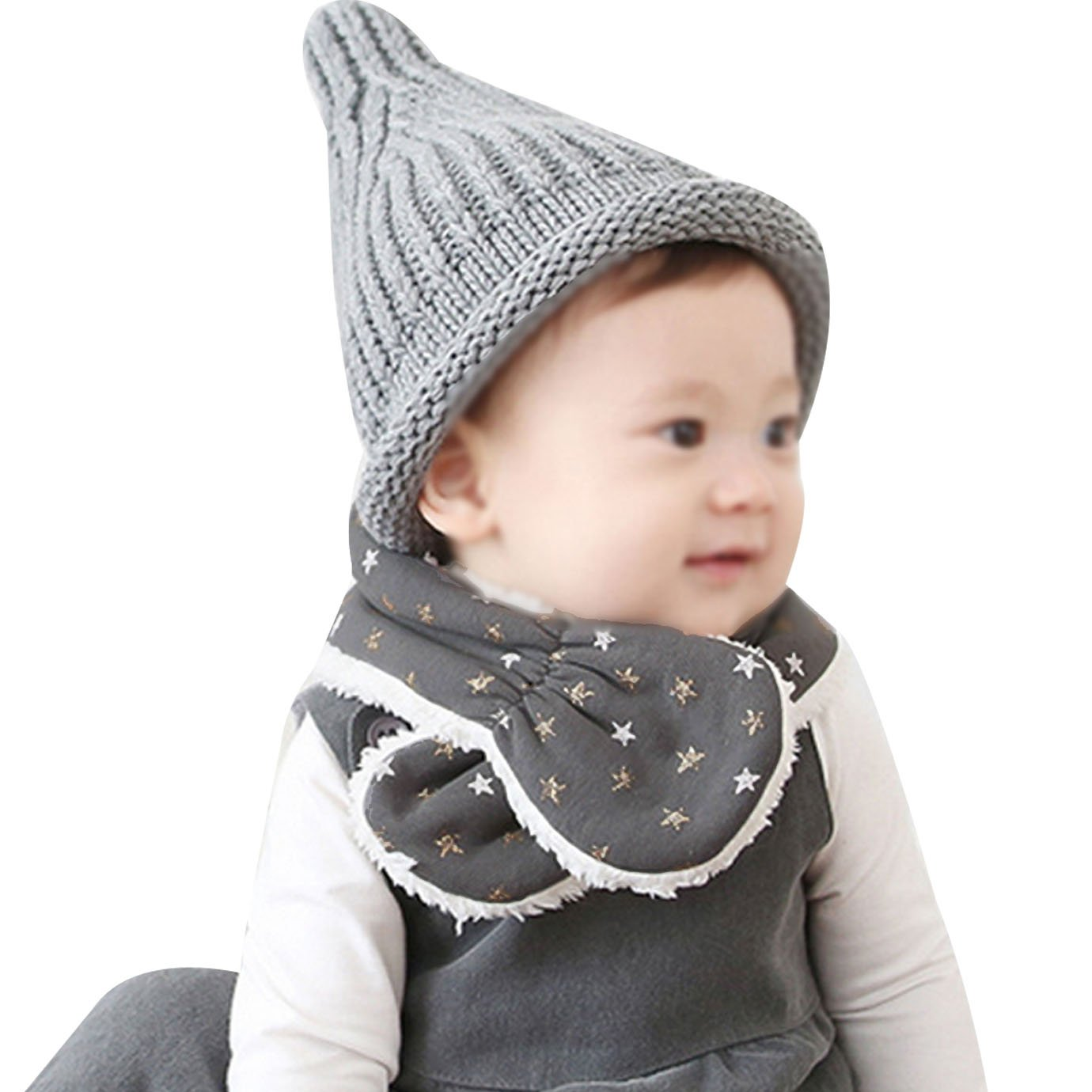 Editha Babies Kids Cute Stars Pattern Plush Scarf Neckerchief Collar Boys Girls Autumn Winter Warm Scarves Shawls Collars Wraps Gray
