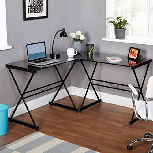 Atrium Metal and Glass L-Shaped Computer Desk Clear