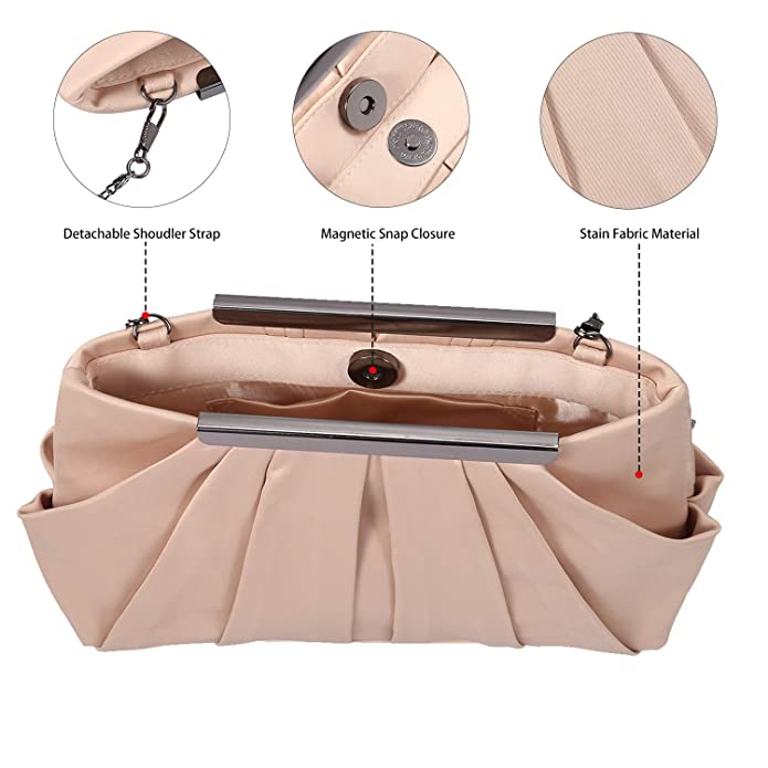 542ee37656 Womens Pleated Satin Evening Handbag Clutch With Detachable Chain Strap  Wedding Cocktail Party Bag YH17002BE
