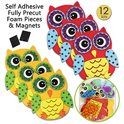 Owl Stickers Foam Crafts for Kids Magnet Kits for Kids Fall Crafts for Kids Preschool Crafts Kid Magnets Toddler Craft Kit Magnet Kids Owl Decal Party Crafts for Kids Childrens Magnets (12 Pack): Arts, Crafts & Sewing