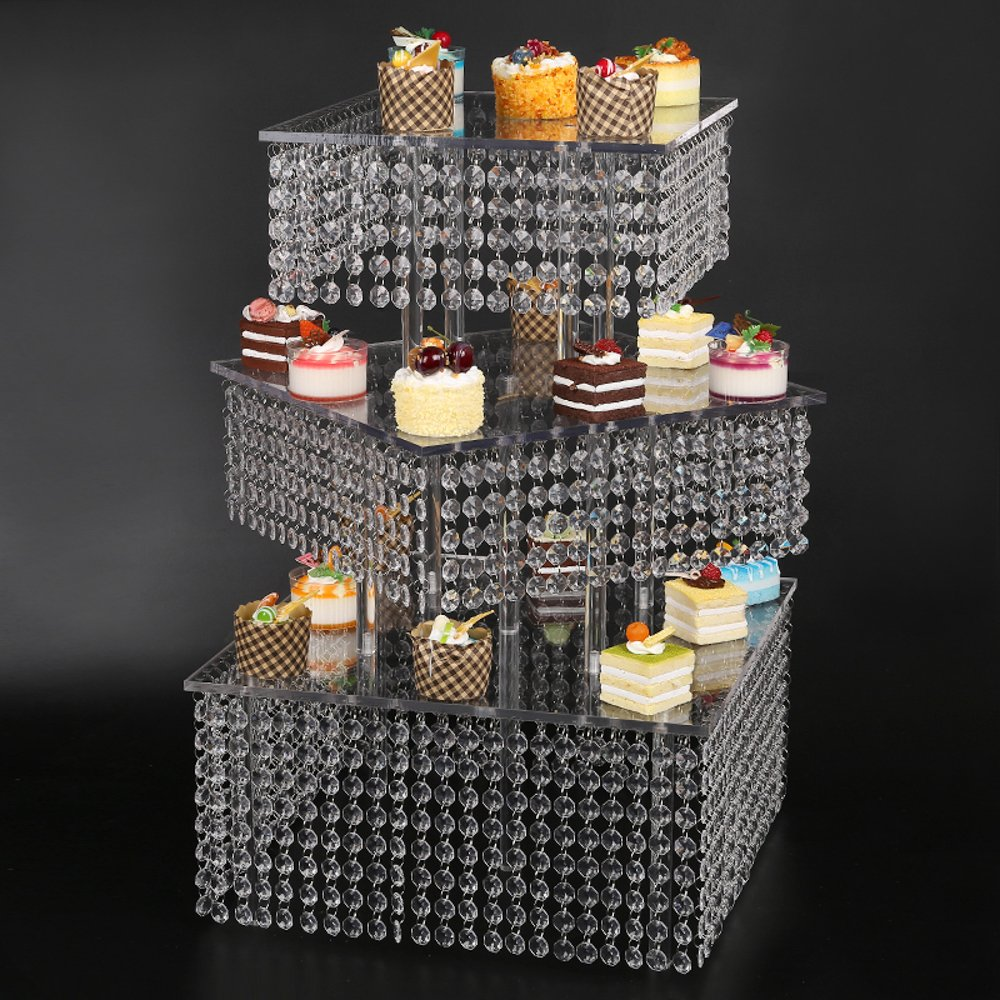 Diagonal Cupcake Stand 3 Tier Large Square real crystal and Freestanding Style Cupcake Tower 160 Cupcakes Wedding center piece by www.Beadingsupplys.com (Image #1)